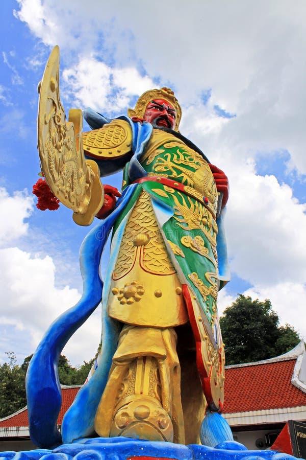 Guan Yu Statue At Guan Yin Temple, kommunala Hatyai parkerar, Hatyai, Thailand royaltyfri fotografi