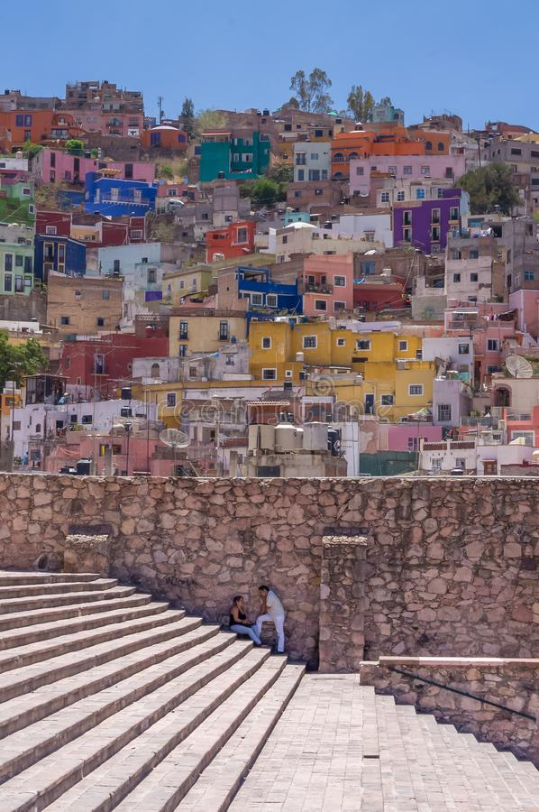 Guanajuato alondiga de granatidas stairs and colorful houses on the background royalty free stock photo