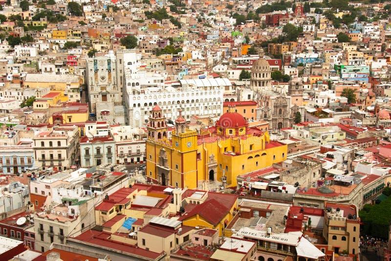 Guanajuato with Basilica and University stock photography