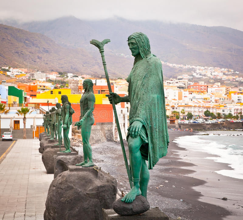 Guanches indians statues located at Plaza de la Patrona de Canarias at Candelaria, Tenerife, Spain. royalty free stock photos