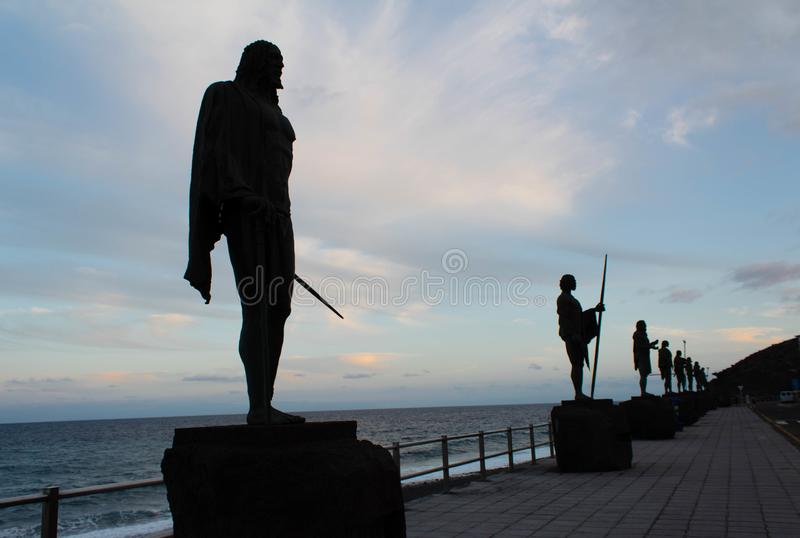 Guanches kings in Candelaria royalty free stock image