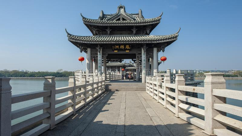 Guangji Bridge of Chaozhou. Guangji Bridge, formerly known as Kangji Bridge, commonly known as Xiangzi Bridge, is located outside the east gate of the ancient stock photography