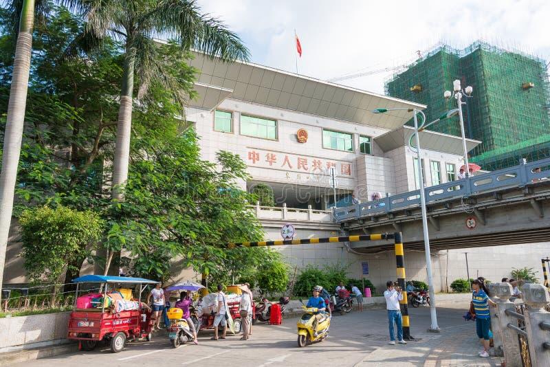 GUANGXI KINA - Juni 28 2015: Dongxing port Staden av Dongxin royaltyfria bilder