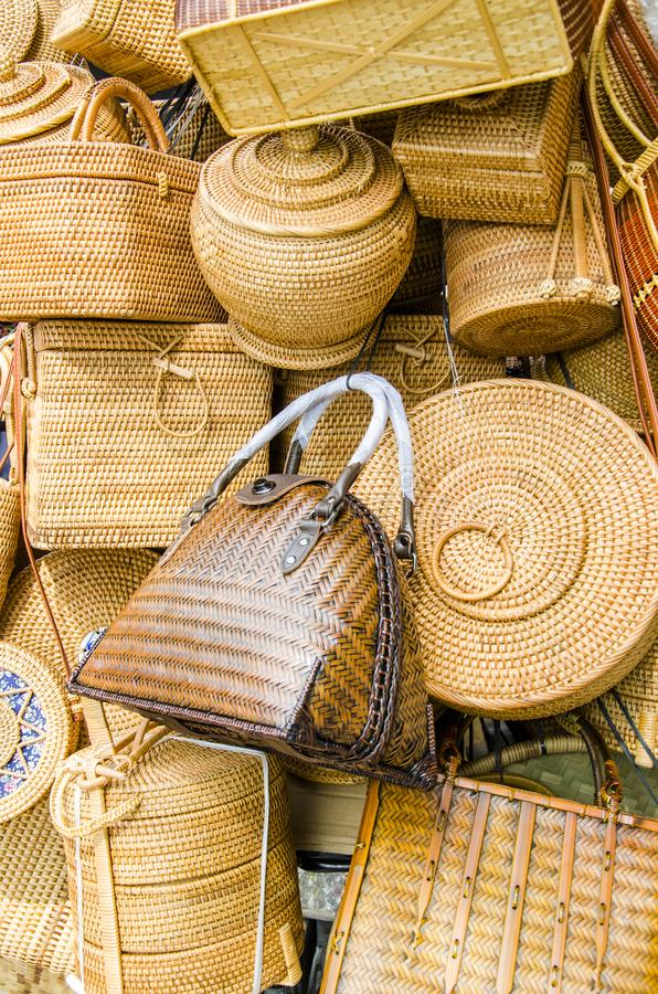 Guangxi Zhuang nationality bamboo products. Bamboo jar, bamboo bag, bamboo basket, bamboo basket, bamboo box, bamboo cage drawer royalty free stock photos