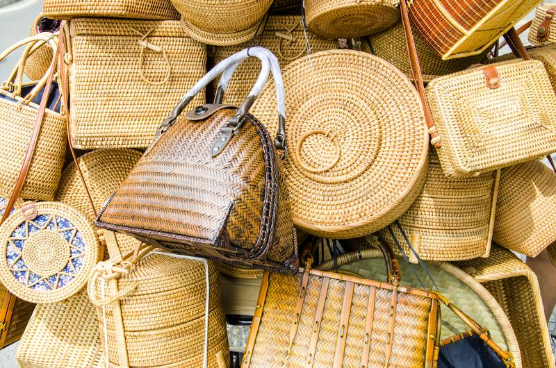 Guangxi Zhuang nationality bamboo products. Bamboo jar, bamboo bag, bamboo basket, bamboo basket, bamboo box, bamboo cage drawer royalty free stock photography