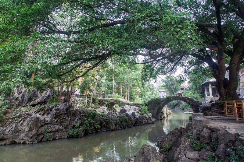 Guangxiprovincie China, beroemde toeristische attracties in Hezhou, de oude stad van Huang Yao stock foto