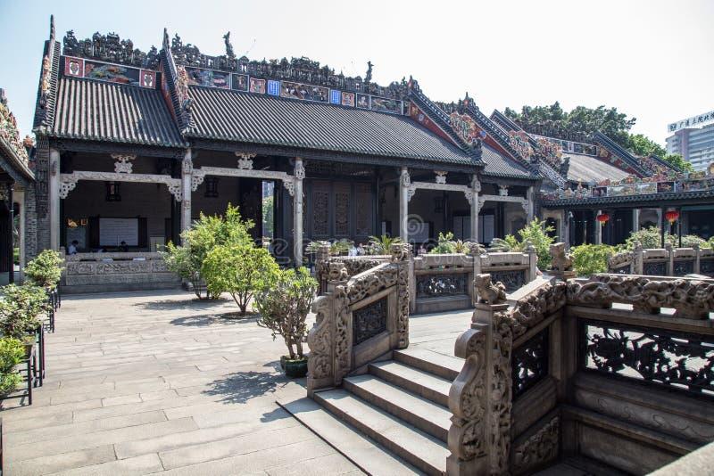 Guangzhou, attraction touristique célèbre du ` s de la Chine, le hall héréditaire de Chen, une maison avec une configuration arch photo stock