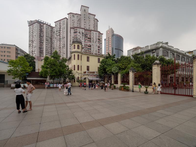 Sacred Heart Cathedral in Guangzhou, China. Guangzhou/China - August 18 2018: The courtyard of the Sacred Heart Cathedral in Guangzhou, China. The Sacred Heart stock image