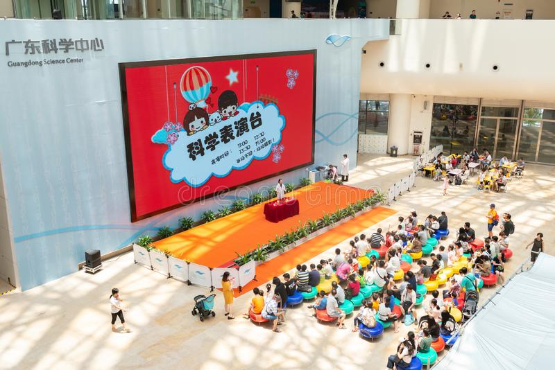 People attending a science experiment show at Guangdong Science Center stock photos