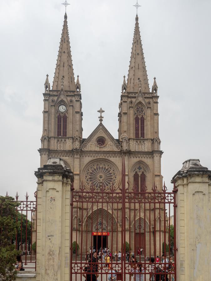 Sacred Heart Cathedral in Guangzhou, China. Guangzhou/China - August 18 2018: Sacred Heart Cathedral in Guangzhou, China. The Sacred Heart Cathedral is a Gothic stock photos