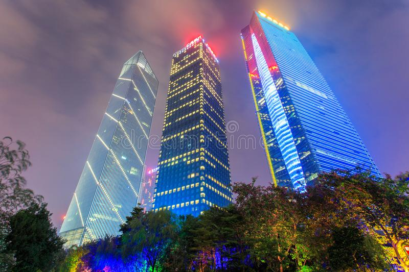 GUANGZHOU, CHINA - DECEMBER 11, 2016 : Guangzhou City night view and Central business building at dust royalty free stock photo