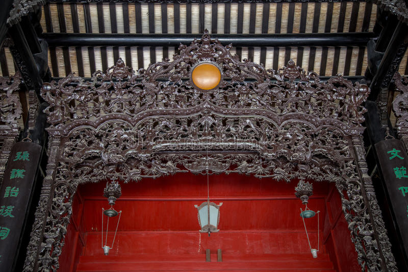 Guangzhou, China famous tourist attractions, Chen ancestral hall, carved with wood carved Guangdong popular figures, architectural. Chen Jia CI Tang and Chen stock images