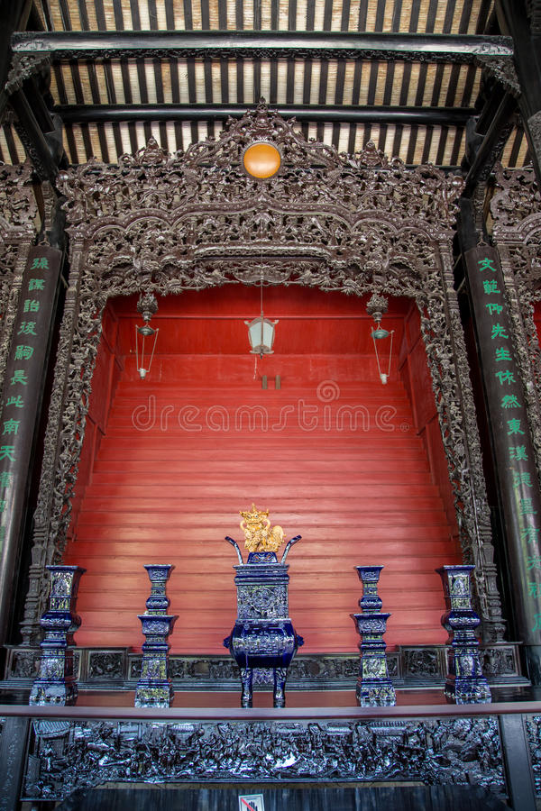Guangzhou, China famous tourist attractions, Chen ancestral hall, carved with wood carved Guangdong popular figures, architectural. Chen Jia CI Tang and Chen royalty free stock photography