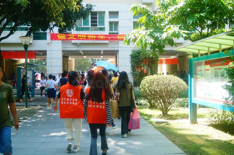 Guangzhou, China: on the first day of college, many freshmen arrive at the university campus. On the first day of college in guangzhou, many freshmen come to the royalty free stock photo