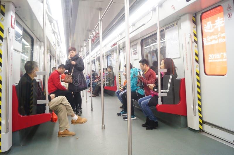 Guangzhou, China: het Vervoer van metroauto's royalty-vrije stock afbeelding