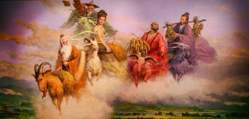 Guangzhou, China - 10. Juli 2018: Eine Malerei von fünf Göttern, die nüchtern kamen, den Leuten von Guangzhou zu helfen und sie e lizenzfreie stockbilder