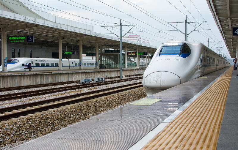 GUANGZHOU, CHINA - MAY 3, 2017: Chinese highway high speed train. Arriving at the train station stock photo