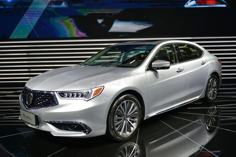 ACURA TLXL saloon car. Guangzhou, China - November 18, 2017: ACURA TLX saloon car was exhibited in the 15th China Guangzhou International Automobile Exhibition stock image