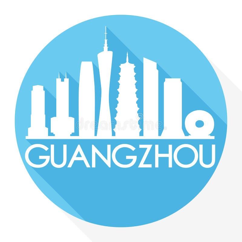 Guangzhou China om van het de Stadssilhouet van Pictogram Vectorart flat shadow design skyline het Malplaatjeembleem vector illustratie