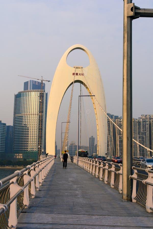 GUANGZHOU, CHINE - 3 JANVIER 2018 : Sièges potentiels d'explosion de pont de Guangzhou Liede photos stock