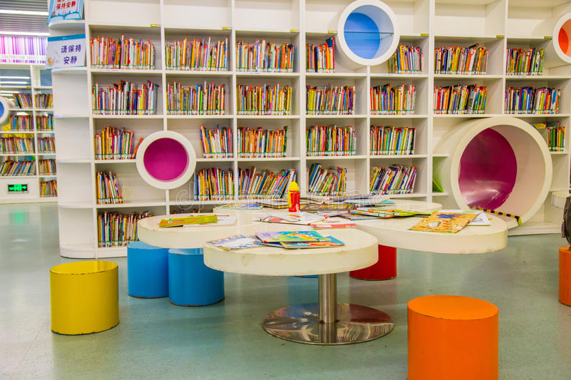 Guangzhou city library, Guangdong, china. This is a library of children`s books and shelves in the library, a very modern design of cable, very shocking very royalty free stock photos