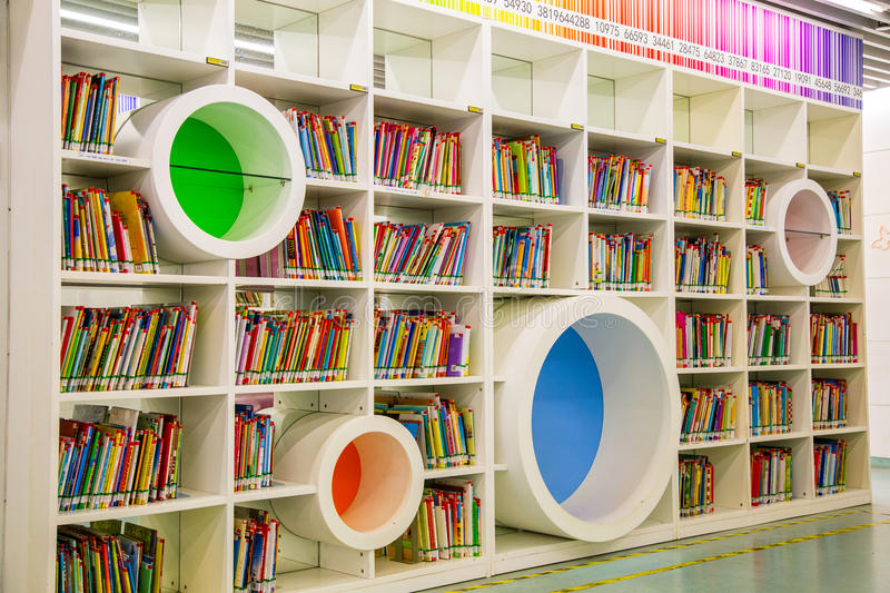 Guangzhou city library, Guangdong, china. This is a library of children`s books and shelves in the library, a very modern design of cable, very shocking very stock photo