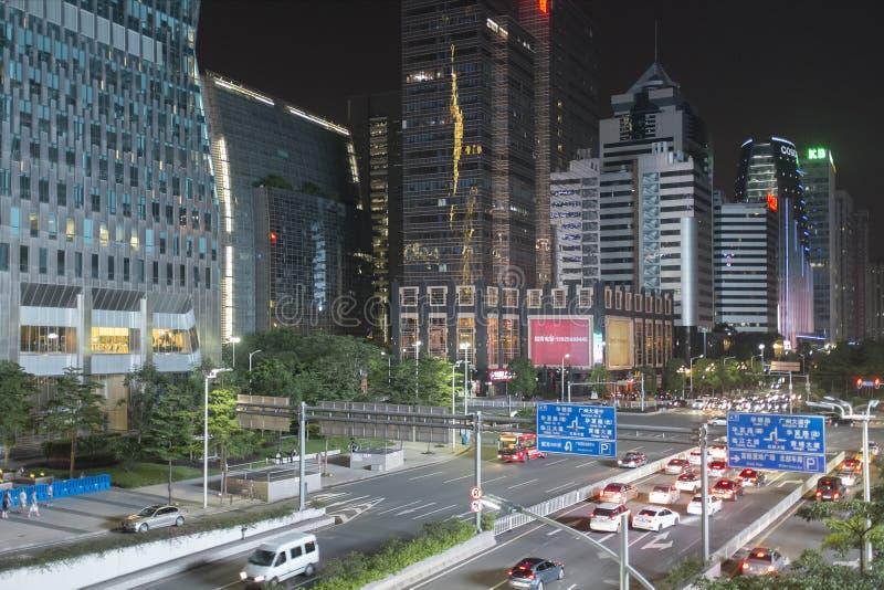 Guangzhou do centro na noite, China fotografia de stock