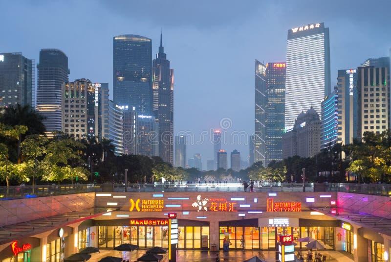 Guangzhou do centro na noite, China imagem de stock royalty free