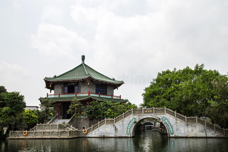 Guangzhou, Guangdong, China famous tourist attractions treasure ink garden, this is a part of the park scenes, antiques collection stock images