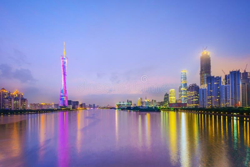 Guangzhou Kina stadshorisont royaltyfri fotografi
