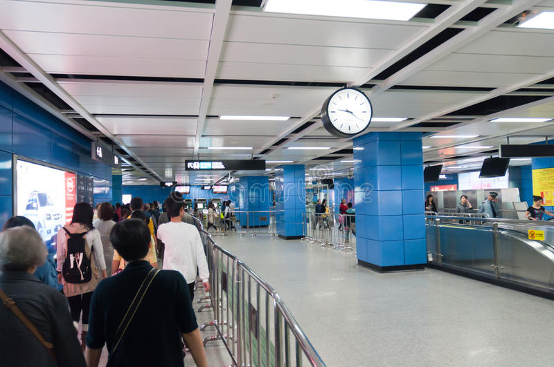Guangzhou Metro. Guangzhou China, November 27th, 2011: Guangzhou Metro station internal with a big o'clock stock photography