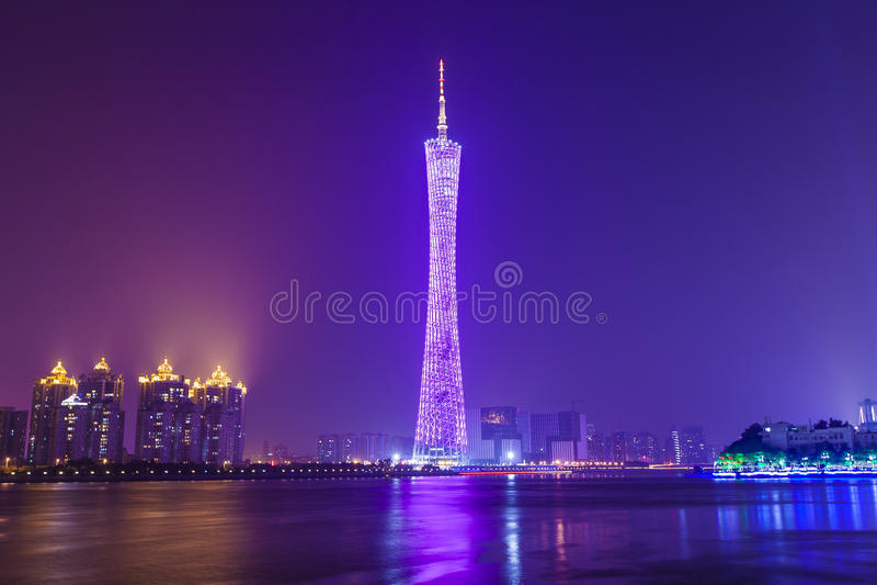 Guangzhou at night, China. stock photo