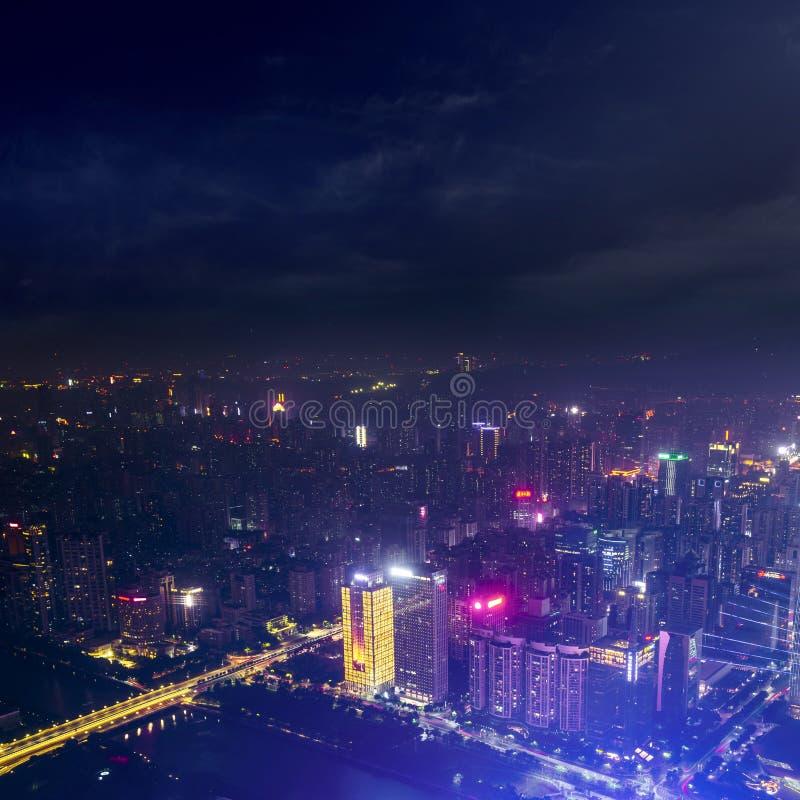 Guangzhou night cityscape with modern building of financial district and Zhujiang River, guangzhou, china stock images