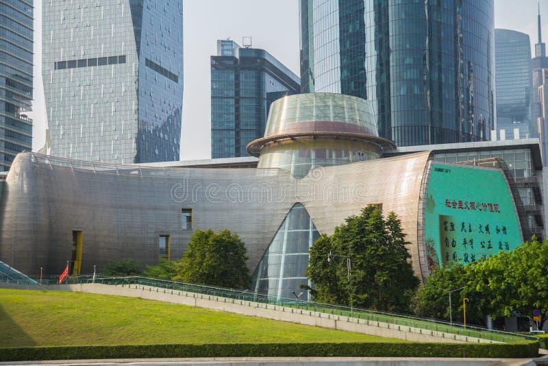 Guangzhou Operla Rzecznego Nowego miasto, unikalny projekt budynek, Guangzhou młodość aktywność ześrodkowywają fotografia stock