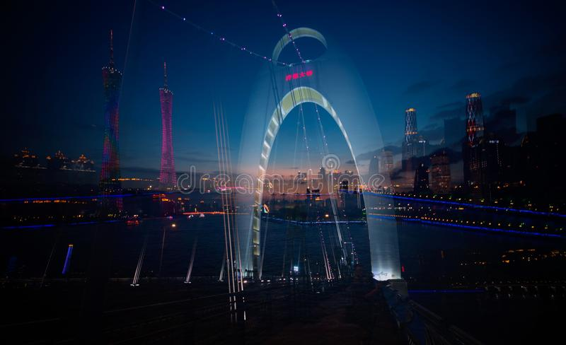 Guangzhou Pearl River night scene royalty free stock photography