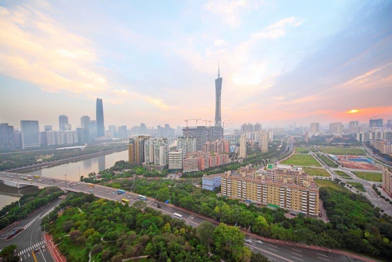 Guangzhou-Perlen-Fluss, Bezirk Fernsehkontrollturm stockfotografie