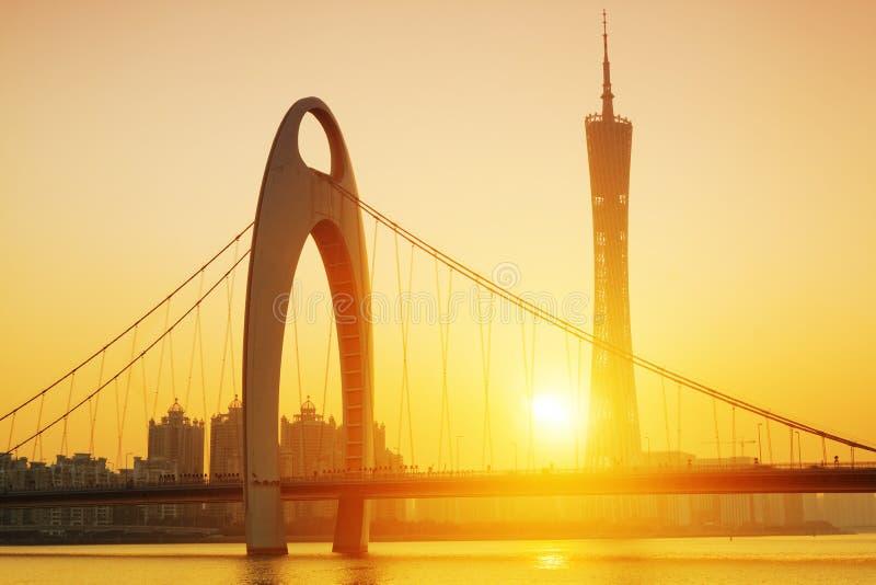 Guangzhou in the sunset moment. Zhujiang River and modern building of financial district in guangzhou china royalty free stock image