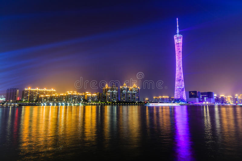 Guangzhou tower at night stock photography