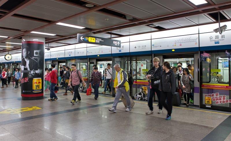 Guangzhou tunnelbana Kina royaltyfri foto