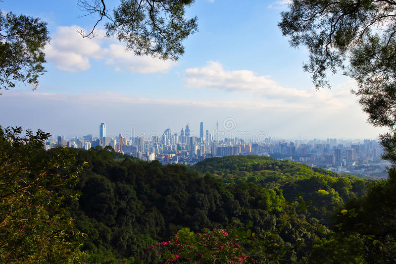 Guangzhou view from the baiyun mountain. At the daytime - Guangdong of China royalty free stock image