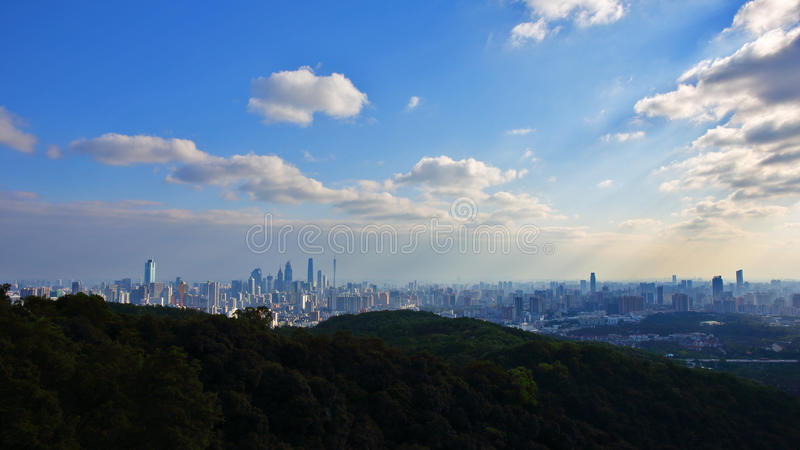 Guangzhou view from the baiyun mountain 2. Guangzhou view from the baiyun mountain at the daytime - Guangdong of China royalty free stock images