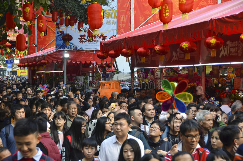 Guangzhou-Winterjasmin-Blumenmarkt 2017 stockfoto