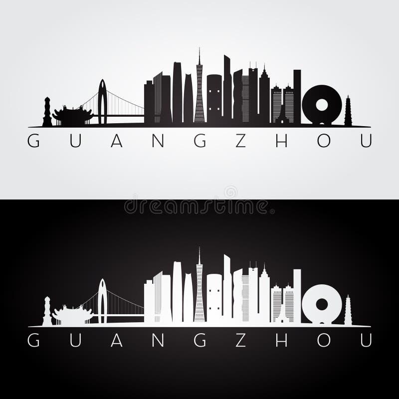 Guangzhouhorizon en oriëntatiepuntensilhouet royalty-vrije illustratie