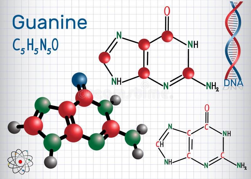 Guanine G, Gua - nucleobase de purine, unité fondamentale illustration de vecteur