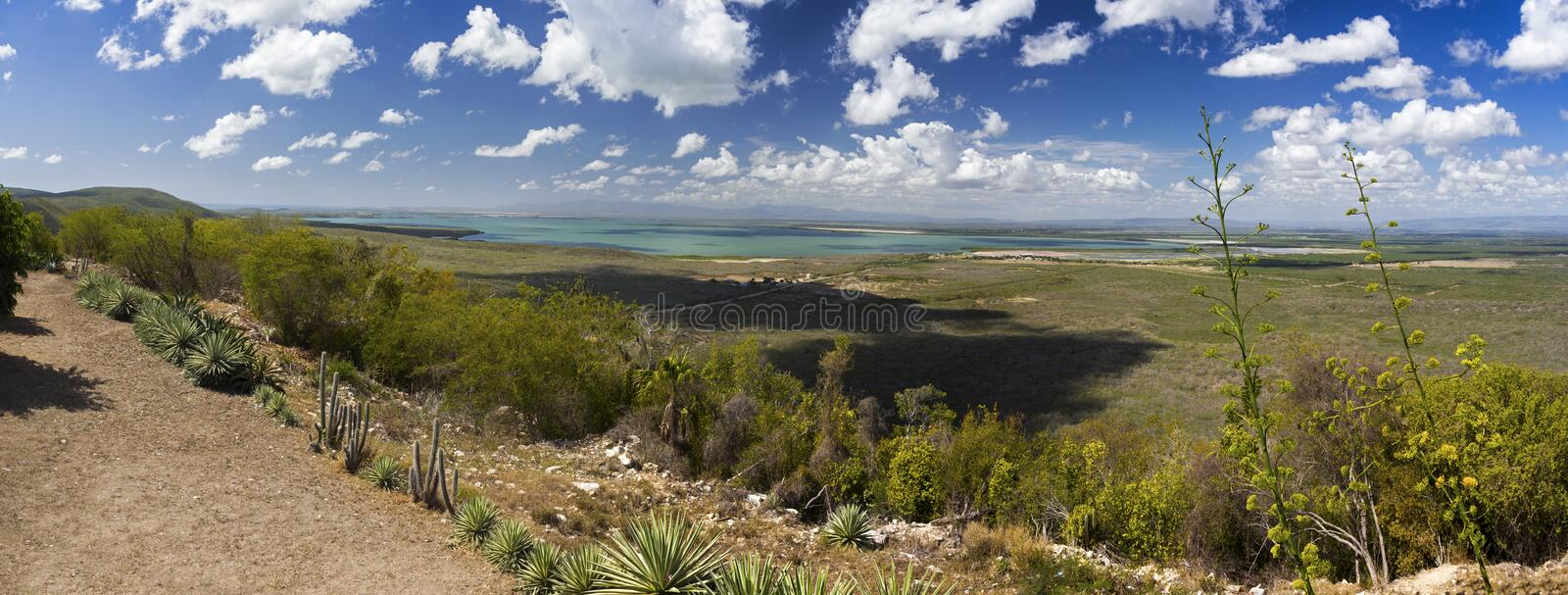 Guantanamo Bay Cuba Wide Panoramic Landscape Distant US Military Base Horizon royalty free stock images