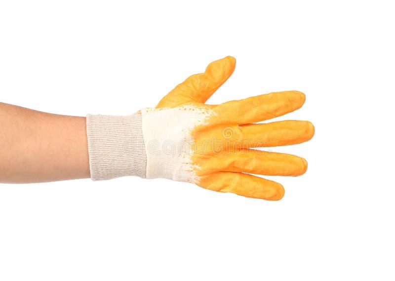 Guante amarillo protector de goma. imagen de archivo
