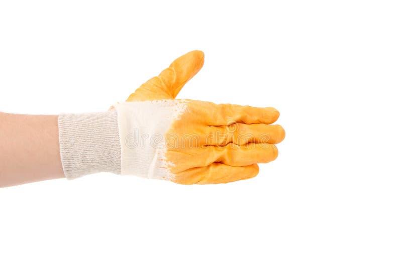 Guante amarillo protector de goma. imagenes de archivo