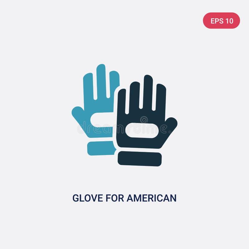 Guante bicolor para el icono del vector del jugador de f?tbol americano del concepto de los deportes guante azul aislado para el  ilustración del vector