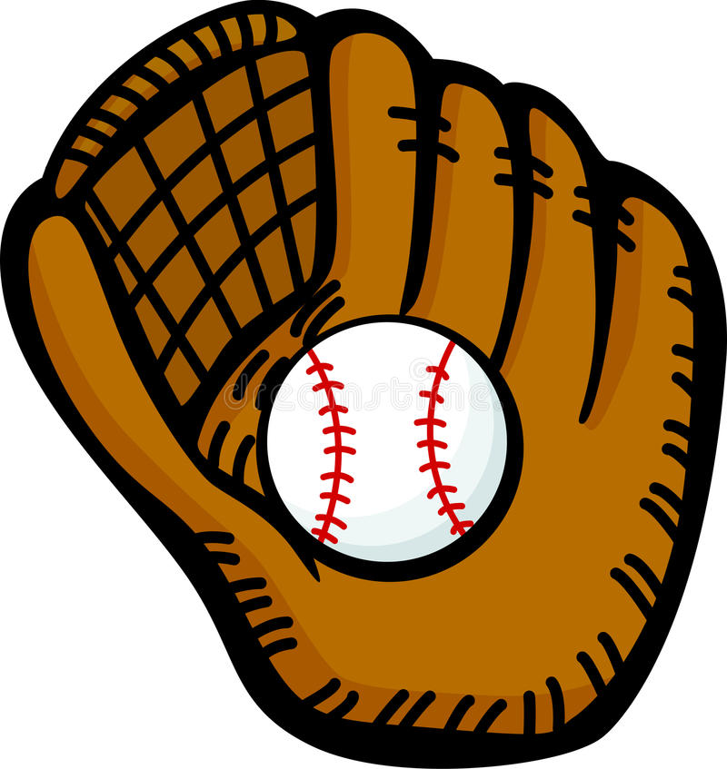 Guante de cuero y bola del béisbol ilustración del vector