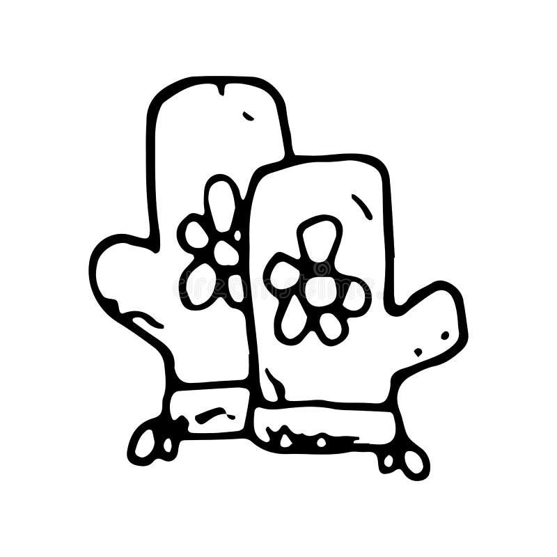 Guante exhausto de la mano para cocinar garabato Icono del estilo del bosquejo Elemento de la decoración Aislado en el fondo blan ilustración del vector